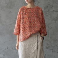 Женские Оранжевые рубашки с принтом Блузки с цветами рами летние новые китайские стильные винтажные женские рубашки и топы