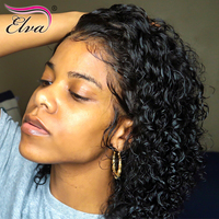 Elva Hair 13x6 Short Lace Front Human Hair Bob Wigs 150% Density Water Wave Brazilian Remy Hair Lace Wig Pre Plucked Hairline