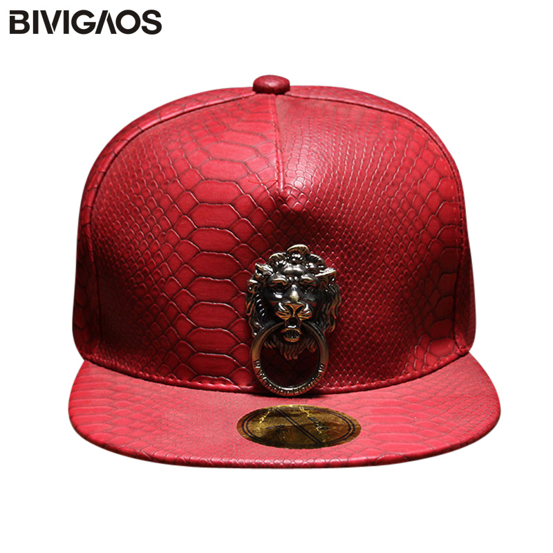 New Metal Sculpture Lion Head Snapback Hats Snakeskin Leather Hip Hop   Cap   Men Punk Style   Baseball     Caps   For Men Women Black Red
