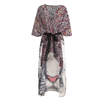 Moda nueva suelta irregular Boho impresión del tigre camisas plisadas pajarita manga V cuello blusa señoras tops casual sin cinturón