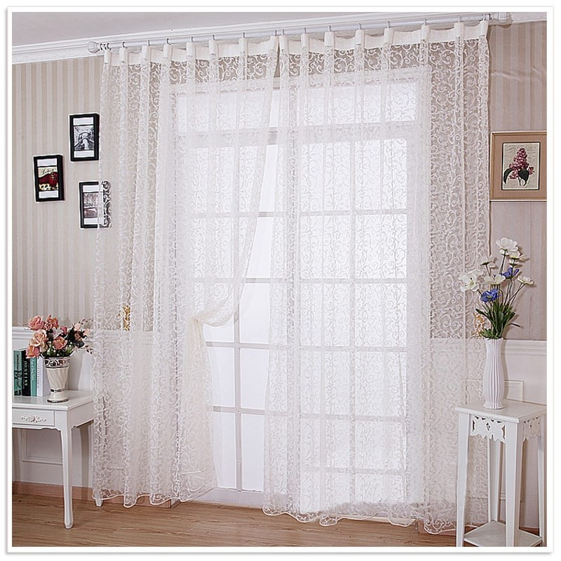 soft polyester white voile curtain drapery transparent panel window room divider sheer curtain tulle home room textiles fabrics