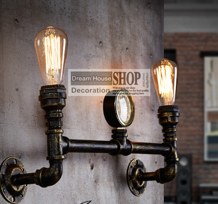 ФОТО Free shipping Aged steel lighting Industrial water pipe lamp antique brass finished 110V/220V E27 2-arm iron edison wall lamp
