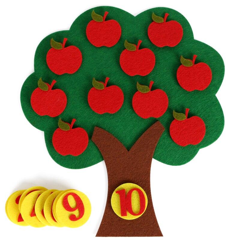 1-10 Монтессори обучающая игрушка для детей головоломка ручной работы DIY игрушка детский сад морковь яблоко дерево матч Цифровое обучение GYH - Цвет: Apple Tree