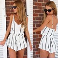 Hottest! sexy spaghetti strap v neck women ladies elegant striped jumpsuit fashion summer style chiffon beach shorts overalls 36