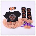 4pcs/set Halloween Pumpkin style Baby Tulle Romper Infant Jumpsuit headband Leggings and Shoes Toddler Party Clothes LS017