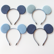 Denim Large Minnie Mickey Ears Headbands For Girls Polka Dots Bow Crown Rabbit Cat Ear Hair Bands Children Accessories