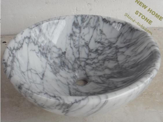 Carrara Marble Modern Vessel Sink Luxury Design Simple Style Round Bathroom Bowl Sinks From Stone Manufacturer