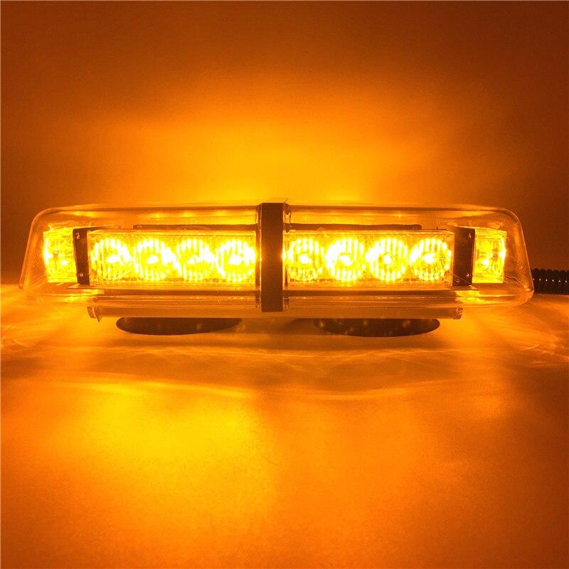 Amber Car Roof Flashing Strobe Emergency Light DC 12V 24 LED Warning lights Engineering vehicle flash lights