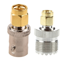 Gold Tone SMA Male To Silver Tone BNC Female Connector Adapter & UHF SO-239 F To SMA M Female/Male Straight Coaxial Coupling A areyourshop sale 10pcs adapter 90 degree uhf plug male pl259 to so239 female connector right angle m f ptfe brass