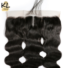 KL Hair Middle Part Body Wave 13×4 Ear To Ear Lace Frontal Closure With Baby Hair Brazilian Remy Hair Human Hair Bleached Knots