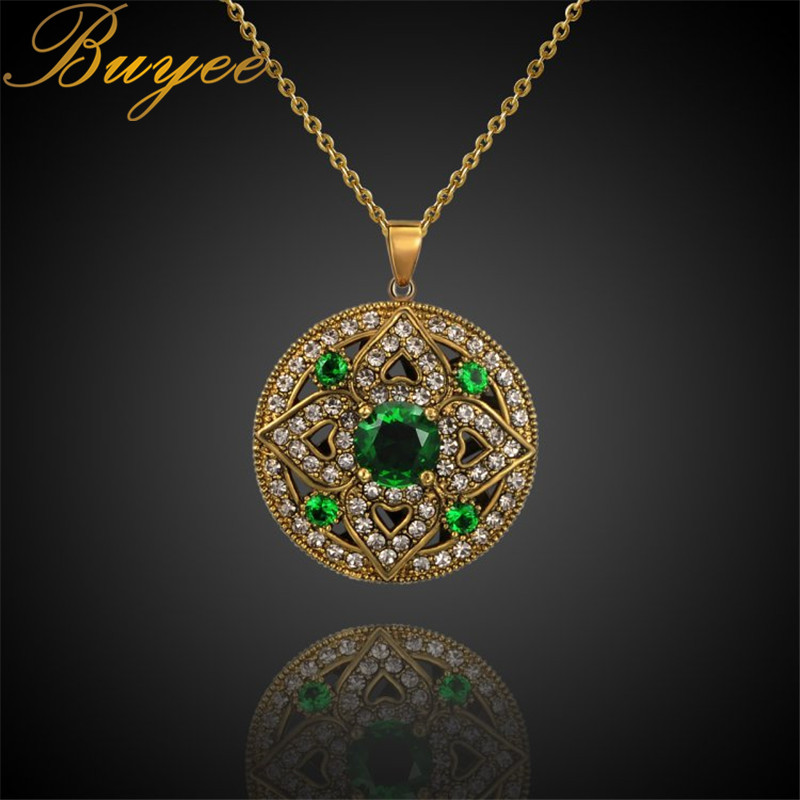 BUYEE Vintage Green Stone Necklaces & Pendants for Women Gift Choker collar New Arrival Stone Chain Necklaces Fashion Jewelry Gi