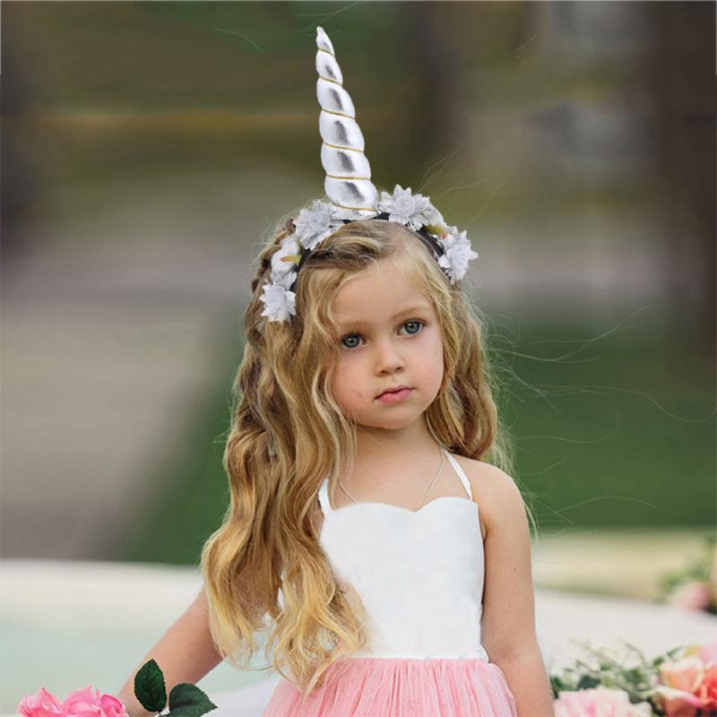 1 Pc Kids Unicorn Headband Newborn Girls Flower Hair Bands Lovely Girls Crown Birthday Halloween Party Headdress Hair Accessory