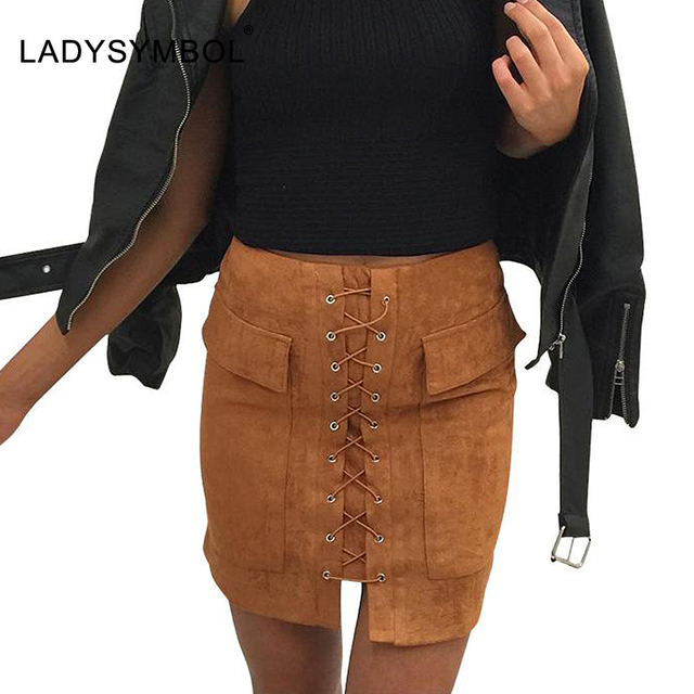 LADYSYMBOL Sexy Lace Up Suede Leather Skirt Women 90's Vintage Preppy Pocket Bodycon Skirt Winter High Waist Short Autumn Skirts