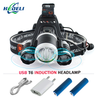 IR Sensor Induction Micro USB Rechargeable Cree XML T6 Led Head Lamp Headlight Waterproof Head Torch
