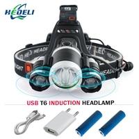 IR Sensor Induction Micro USB Rechargeable Cree XML T6 Led Head Lamp Headlight Waterproof Head Torch