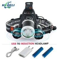Induzione del Sensore IR Micro USB Ricaricabile del cree XML t6 led testa della lampada Del Faro impermeabile testa della torcia Lanterna luci utilizzano 18650