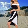 Сексуальная слэш шеи платье лоскутная с плеча без рукавов короткие 2 шт. платье женщины топ и юбка нерегулярные vestidos 869