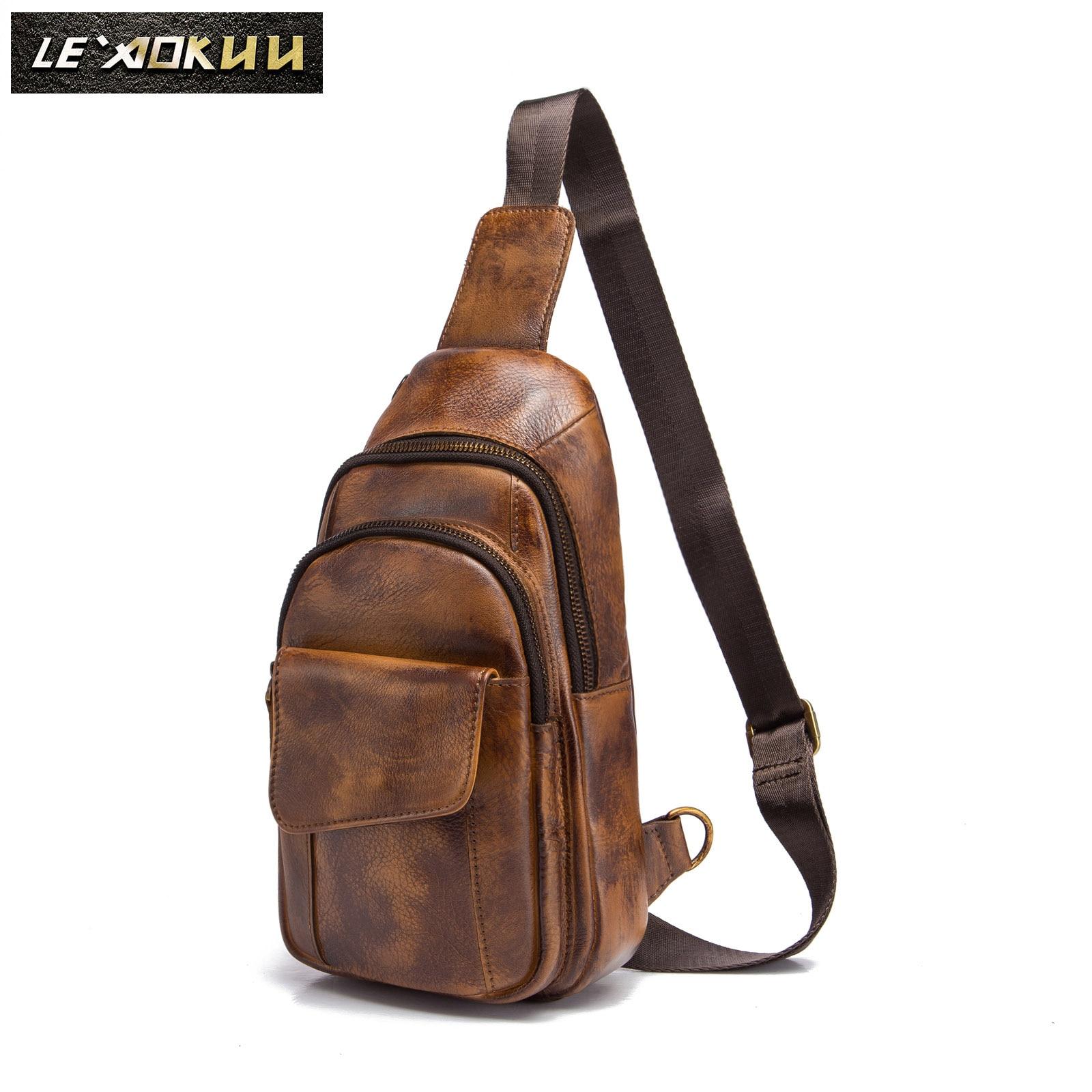 Men Original Crazy Horse Leather Casual Fashion Crossbody Chest Sling Bag Design Travel One Shoulder Bag Daypack Male 8013lb