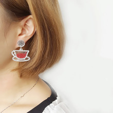 New European Fashion Personality Exaggerated Glitter Acrylic Geometric Teapot Cup Asymmetric Earrings Night Club Women Jewelry