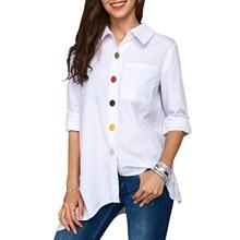 купить Women Fashion Loose Solid Color Lapel Long Sleeve Asymmetric Hem Pocket Shirt Ladies Office Casual Color Buttons Shirt Blouse дешево