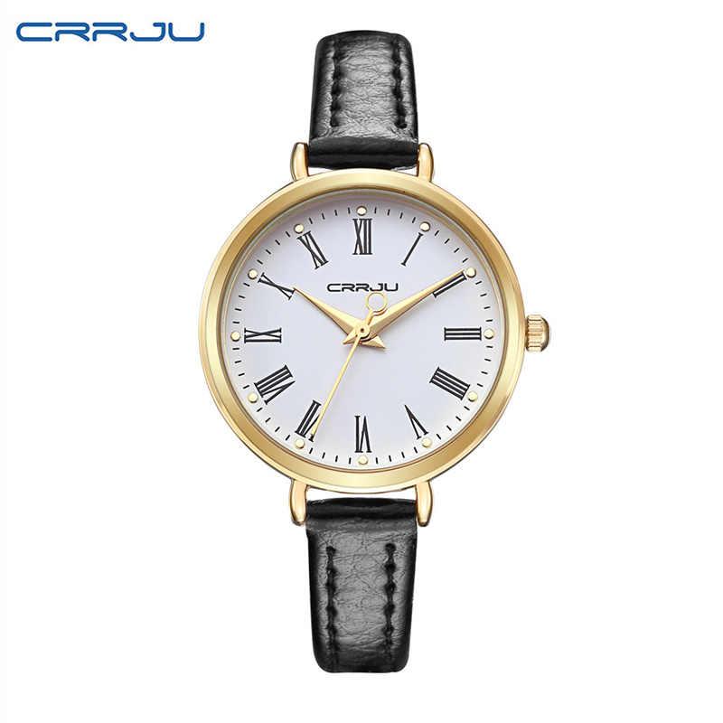 Reloj Mujer CRRJU Top marque de luxe petit Bracelet en cuir femmes Bracelet montres de mode dames montre femmes montres horloge
