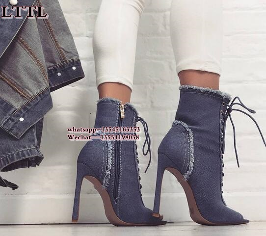 New design blue denim ankle boots women cross strappy open toe super stiletto high heel shoes hollow out lace up short booties round toe women winter boots denim design high top lace up shoes butterfly knot embellished crystal decor stylish short booties