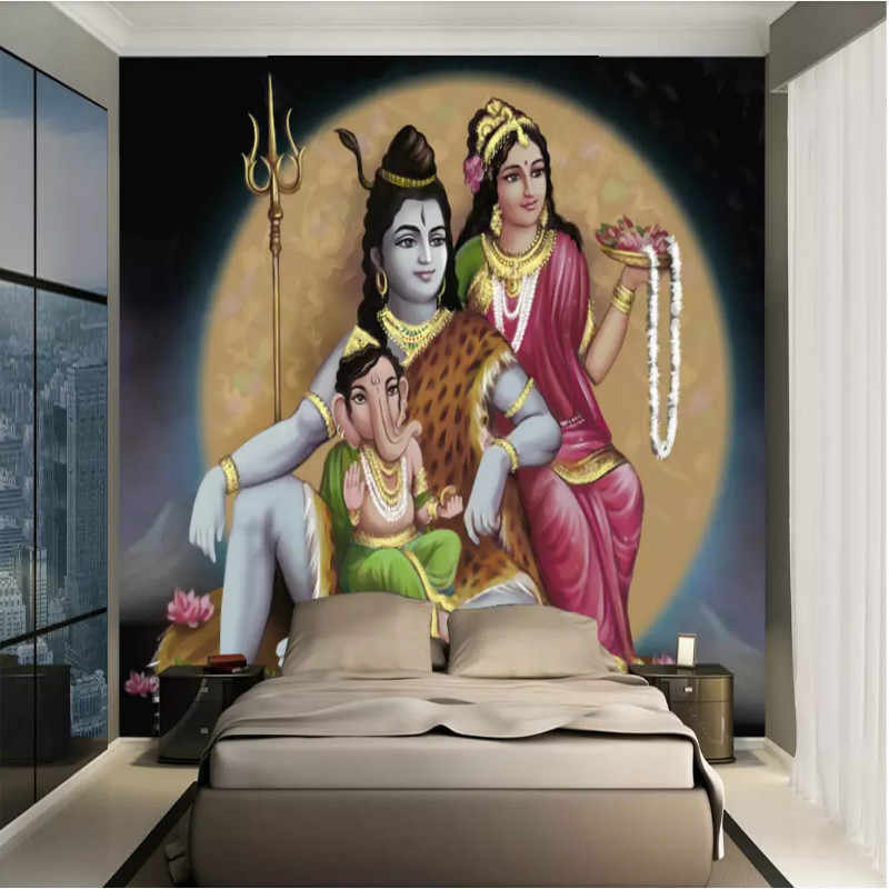 Kustomisasi 3D Wallpaper Dinding 3D Gaya Barat India Shiva Hindu Asia Tenggara Lukisan Minyak Lukisan Dinding Latar Belakang Wallpaper