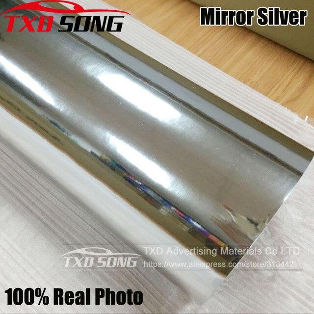 50CM*100CM TO 500CM High stretchable mirror silver Chrome Mirror flexible Vinyl Wrap Sheet Roll Film Car Sticker 10/20CM x152CM