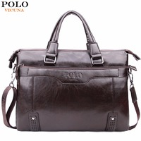 VICUNA POLO High Capacity Hollow Out Bottom Men S Leather Briefcase Bag For 14 Laptop Vintage
