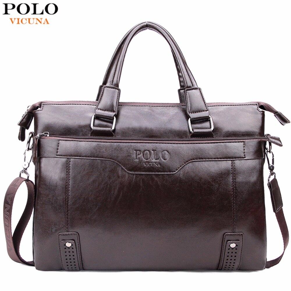 Викуньи поло высокое ёмкость выдалбливают дно для мужчин кожа Портфели Сумка для 14 ''ноутбук Винтаж бизнес s сумки