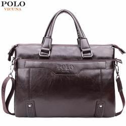 Викуньи поло высокое ёмкость выдалбливают дно для мужчин's кожаный портфель для 14 ''ноутбук Винтаж бизнес кожа мужчин s сумки