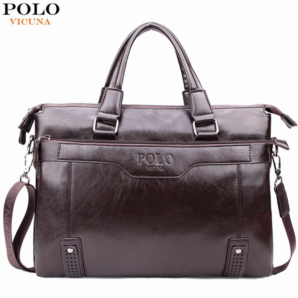 be37dbf0e9 VICUNA POLO High Capacity Hollow Out Bottom Men s Leather Briefcase Bag For  14   Laptop
