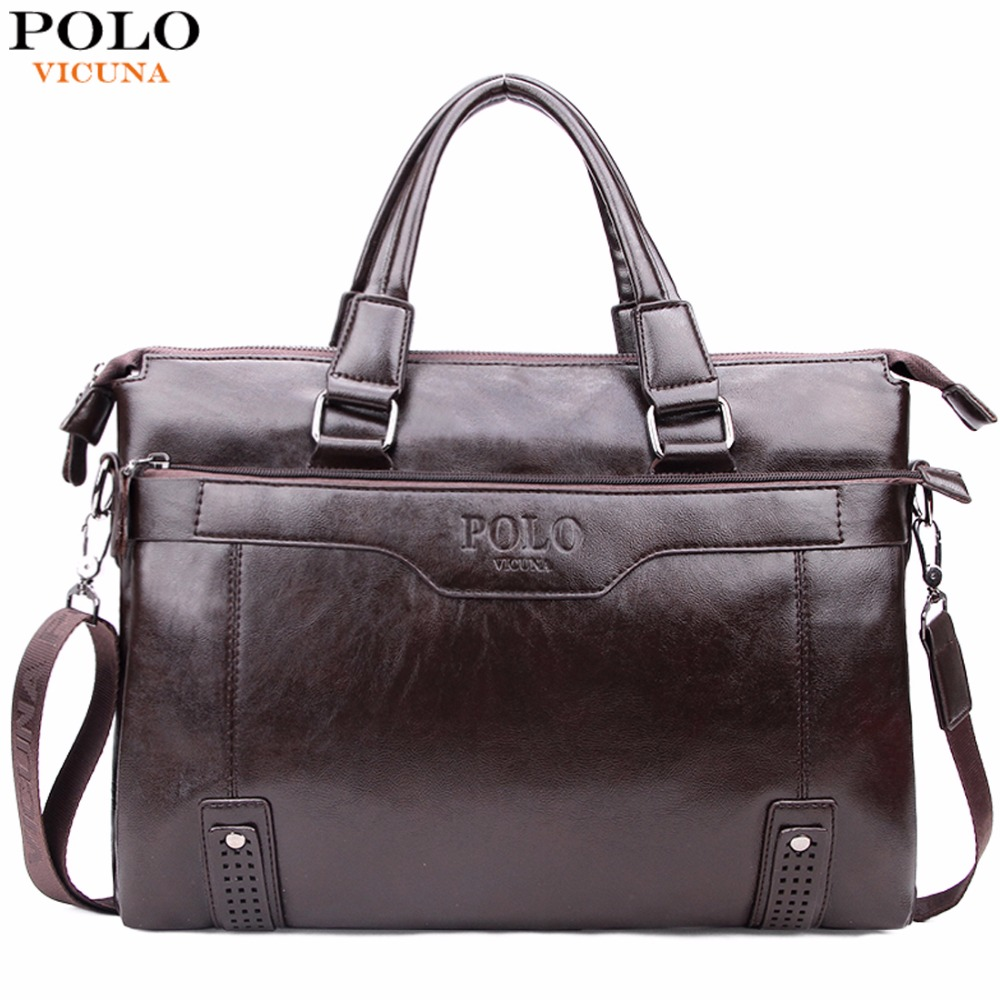 VICUNA POLO High Capacity Hollow Out Bottom Men's Leather Briefcase Bag For 14'' Laptop Vintage Business Leather Mens Handbags