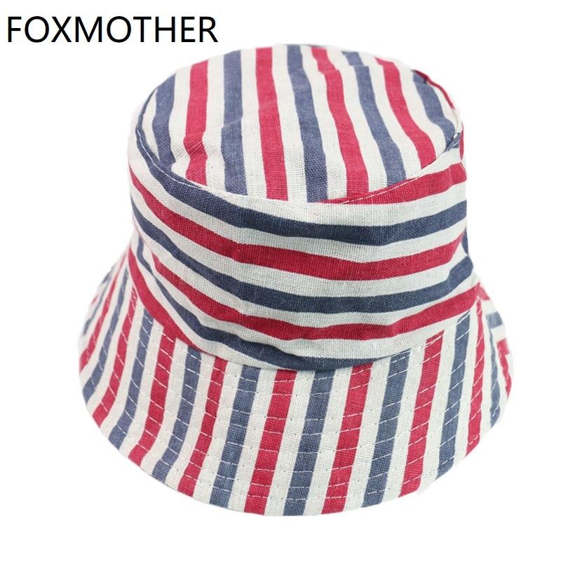 FOXMOTHER New Buckethat Outdoor Red Pink Striped Fisherman Caps Bucket Hats Women Mens