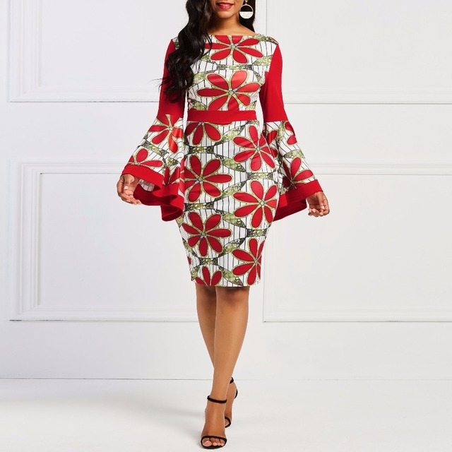bc41bb10160 2018 Fashion Sexy Bodycon Flare Sleeve Girls Dress Sheath Autumn Red Plus  Size Floral Color Block Print Women Oversized Dresses