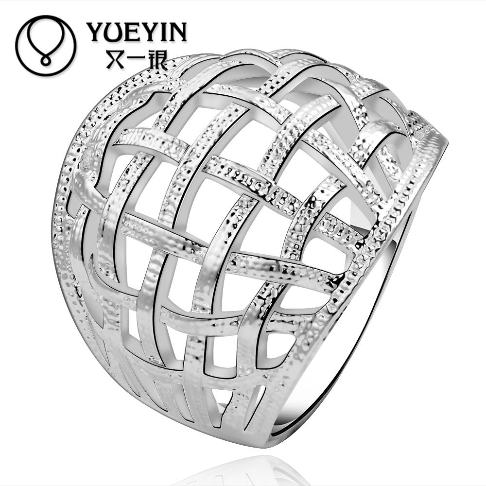Silver Plated Contracted Hollow-out Decorative Pattern Ring Men and Women Hot Sale