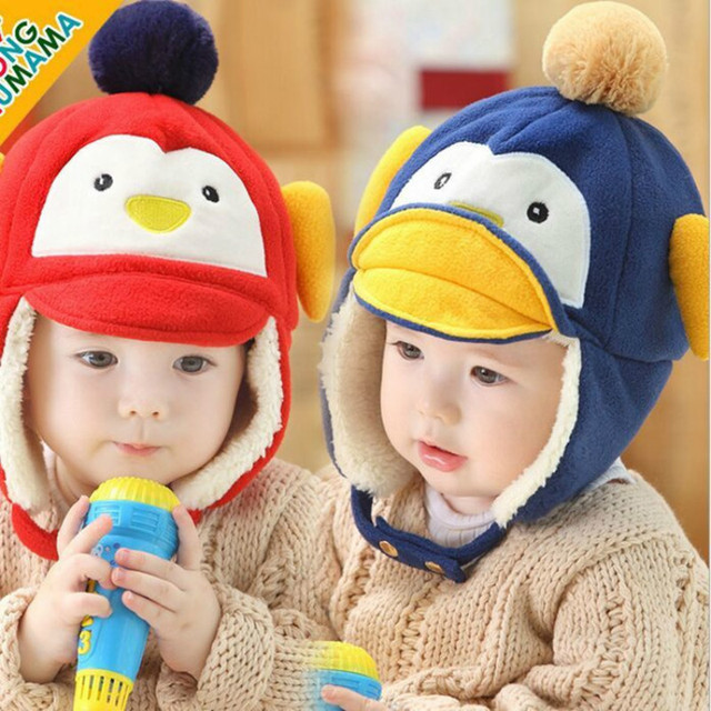 d39c078a3d49 Baby Winter Hats Cute Penguin Cartoon Hats Cotton Made Earmuffs ...
