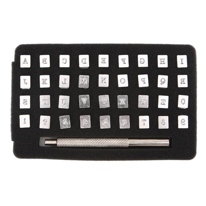 36 piezas de acero alfabeto número sello conjunto punzón para artesanía de cuero sellos herramientas de arte