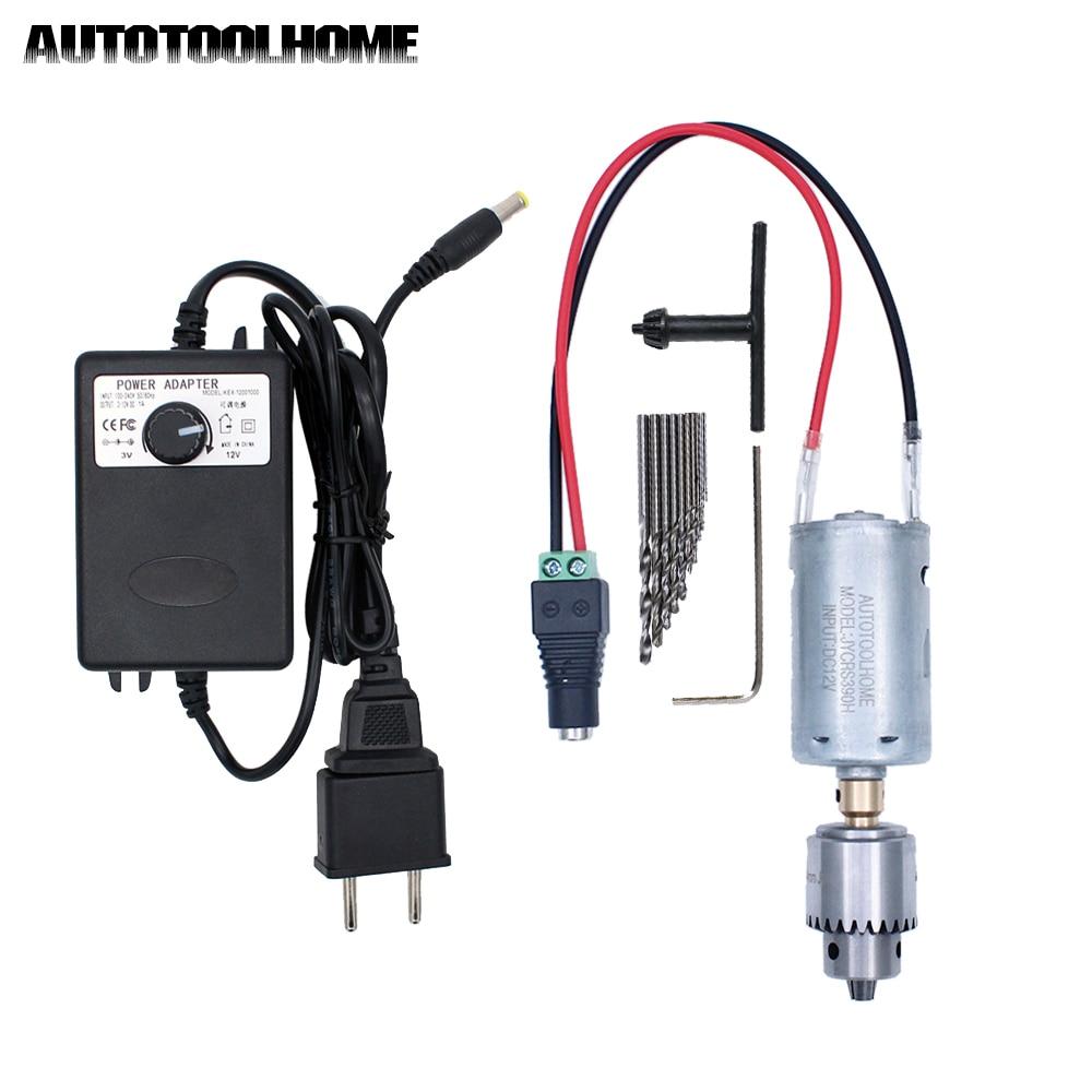 12V Hand Drill DC Motor With 0.3-4mm JT0 Chuck Twist Drill Bits Set Electric Tools Fit DIY Soft Metal Wood PCB Press Drilling
