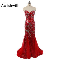 Sexy Prom Dress Sequin Rinestone Beaded Mermaid Prom Dresses 2017 Backless Long Formal Evening Party Dress