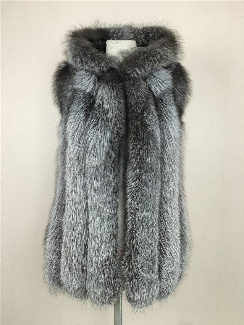 LIYAFUR 2017 Women's 100% Real Genuine Full Pelt Silver Fox Fur Long Hood Sleeveless Vest Hooded Waistcoat Gilet Plus Size Women