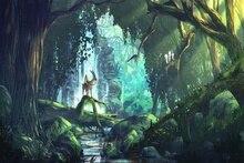 fantasy art anime forest Princess Mononoke Home Decoration  wood frame poster