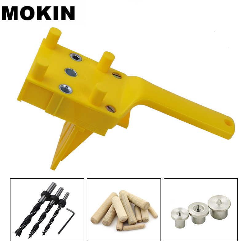 Gabarit de Doweling 6/8/10mm ensemble de gabarit de trou de poche à main bois cheville auto-centrant perforateur Guide de forage gabarit