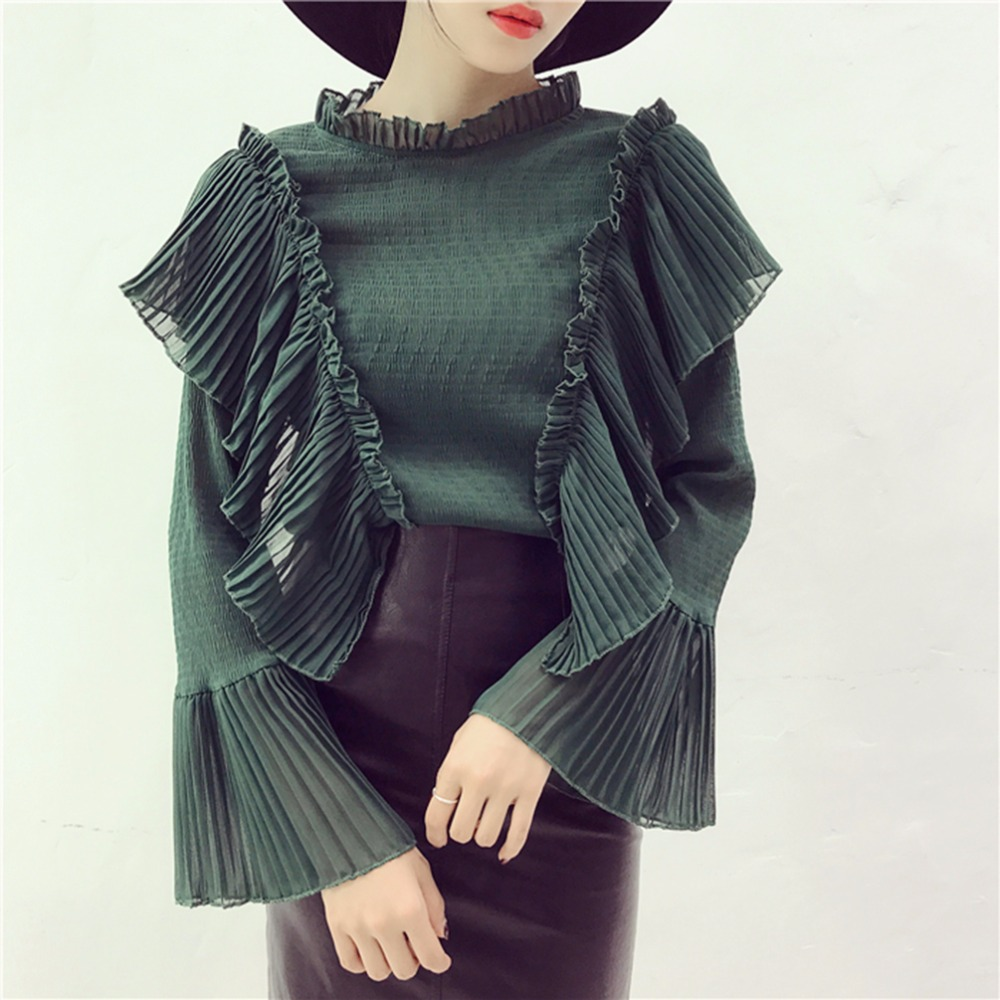 Qlychee Fashion Shirt Women High Neck Pleated Ruffle Flare Sleeve louse Women's Long-sleeve Shirts Blouse For Women