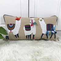 Cute Alpaca Cushion Cover Beige Embroidery Pillow Case with Tassels For Sofa Couch Bed Rectangle Home Decorative 30x60cm