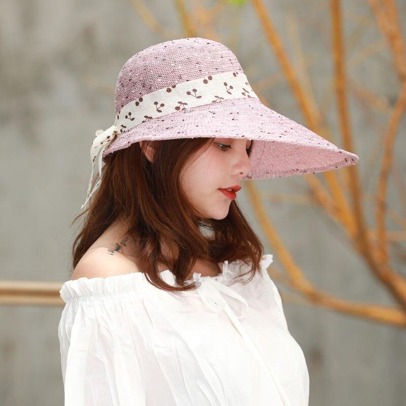 Women Sunshade Hat Widen Brim Bowknot Decor Breathable Beach Cap for Summer -MX8