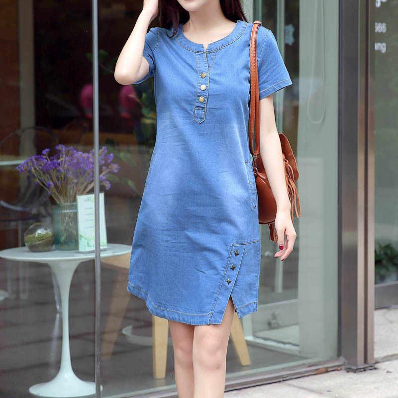 Корейское джинсовое платье для женщин 2019 новое летнее повседневное джинсовое платье с карманом тонкое с коротким рукавом винтажное джинсовое платье плюс размер 3XL