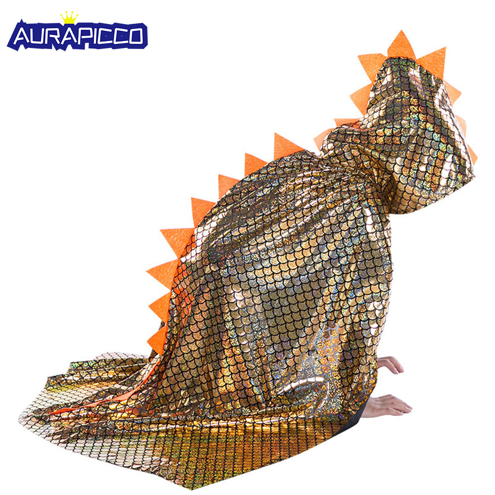 Kids Dinosaur Costume Animal Cosplay Dinosaur Cloak Gilding Fabrics Kids Cape Halloween Costume For Kids Birthday Gift