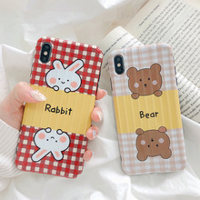 Korean cartoon bear rabbit phone case for iphone6 6s 7 8plus stylish luggage lattice cover for iphone xr x xs max 6 8 7 6s plus цена и фото