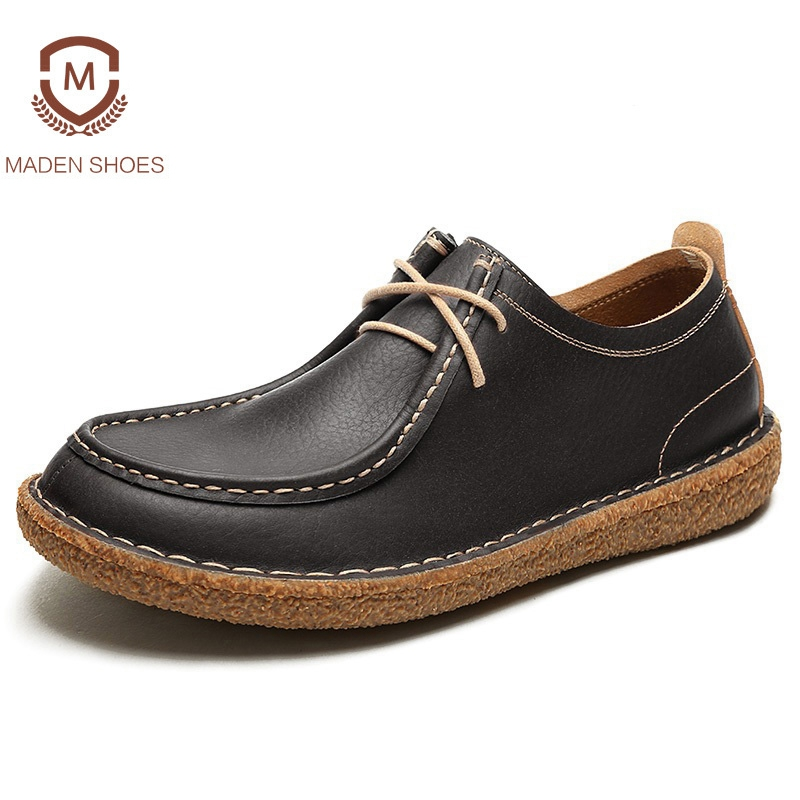 Maden 2018 Spring Summer Top Quality Men Leather Casual Shoes Pure Handmade Sneakers Wallabees Shoes Retro Vintage Boat Shoes maden high quality european fashion men female shoes spring autumn leather casual shoes wild breathable white three flap shoes